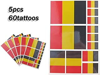 JBCD Belgium Temporary Tattoos 60 Pcs Belgian Flag Stickers Waterproof Tattoos National Flags Tattoo Patriotic Face Tattoos, Suitable for Sports Event Parties and Pride Decorations