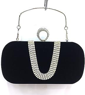 Ring Hand Bag Luxury u Diamond Velvet Evening Bag Bride Ring Hand Bag Bag Size,AW66 Big Black