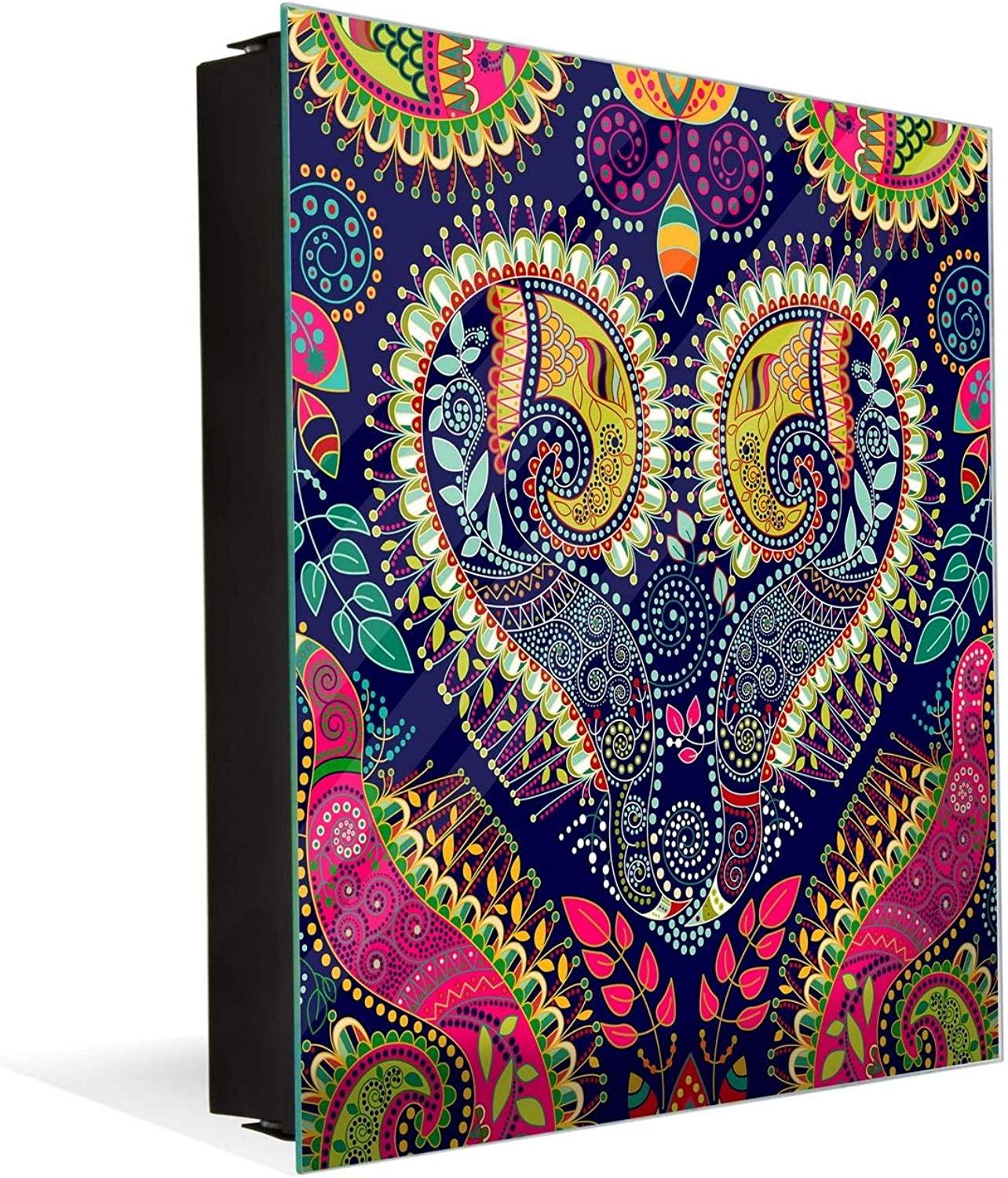 Concept Crystal Wall Mount Key Box Together with Decorative Dry Erase Board K01 Paisley Pattern