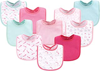 Luvable Friends Unisex Baby Cotton Terry Bibs, Girl Elephant Damask, One Size