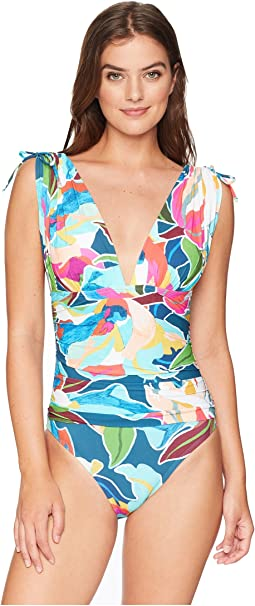 Go with The Flo-Ral Adjustable Arm Coverage Over the Shoulder One-Piece Swimsuit