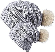 Chalier 2 Pack پدر و مادر کودک کلاه زمستانی گره گره Baggy Slouchy Pom Pom Pom Beanie کلاه برای مادر و نوزاد