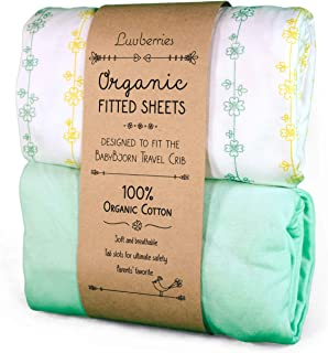 Baby Bjorn Travel Crib Sheets (Set of 2) - 100% Organic Cotton Crib Sheets, Baby and Toddler, Fitted Crib Sheets, for Boys & Girls (Yellow and Green)