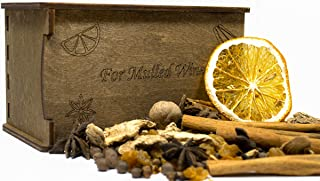 Mulled Wine Spices Kit | Cooking Gift Set | Gift Box | Gift Basket | Gift Wooden Box | Exclusive Engraved Box for Mulled Wine Spices | Set of Spices for Mulled Cider