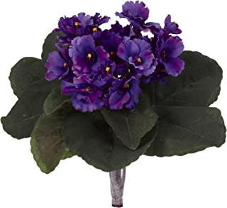 "Nearly Natural 9"" African Violet (Set of 6) Artificial Plant Purple"