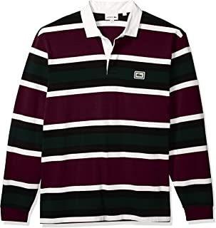 Mens Long Sleeve Heavy Jersey Bold Stripe Rugby Polo Shirt