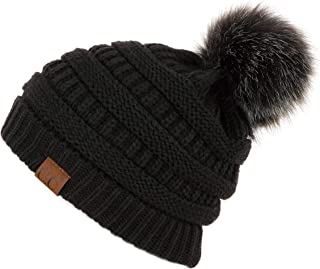Hatsandscarf CC Exclusives Unisex Solid Ribbed Beanie with Pom (HAT-43) (Ivory Amazon)