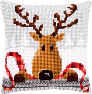 Vervaco Reindeer with A Red Scarf I Cushion Cross Stitch Kit, 16