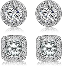 Quinlivan Duo 2 Pairs Premium Halo Stud Earrings 10mm, Round Princess Cut Cubic Zirconia Earrings Sets Lightweight for Women, Girls