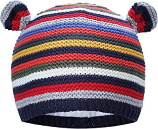 Vivobiniya Newborn Hats Baby Winter Hats Knitted Cap Chromatic Stripe