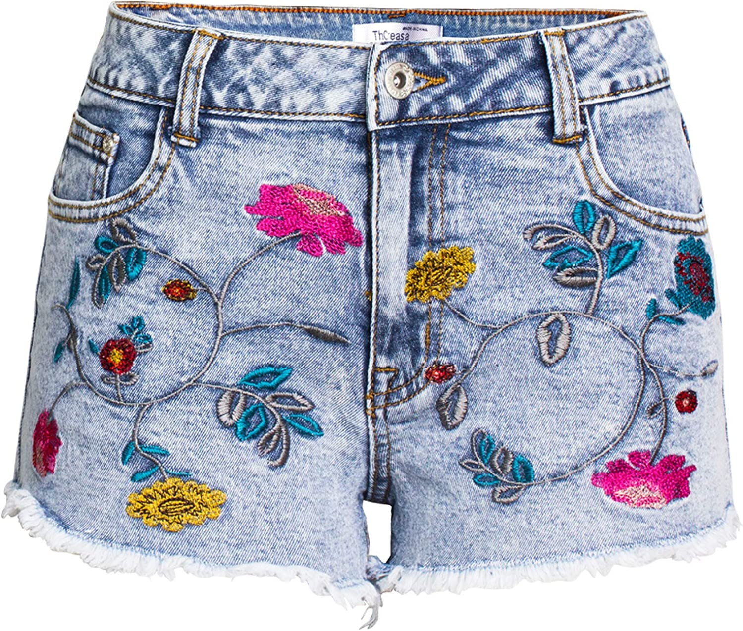 Ladies Denim Shorts Personalized Floral Embroidery Torn Edges Slim Fit Double