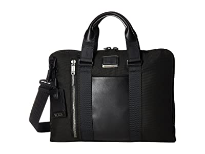 Tumi Alpha Bravo Aviano Leather Slim Brief (Black) Briefcase Bags