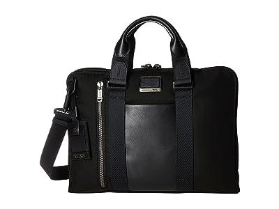 Tumi Alpha Bravo Aviano Leather Slim Brief (Black) Briefcase Bags