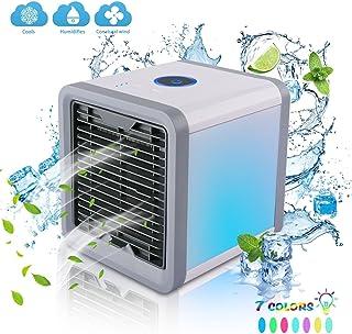 FuLov Enfriador de Aire portátil de Mesa: purificador humidificador evaporativo silencioso pequeño, Ventilador de Escritorio Recargable USB, 3 velocidades de Ventilador, luz Nocturna de 7 Colores