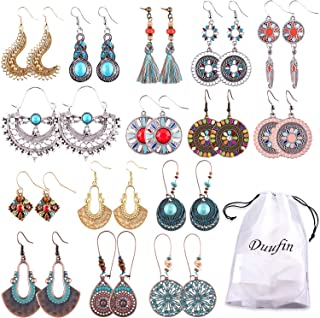 Duufin 15 Pairs Boho Earrings Vintage Bohemian Earrings Drop Dangle Earring Statement Earring Set with a Box for Women and Girls
