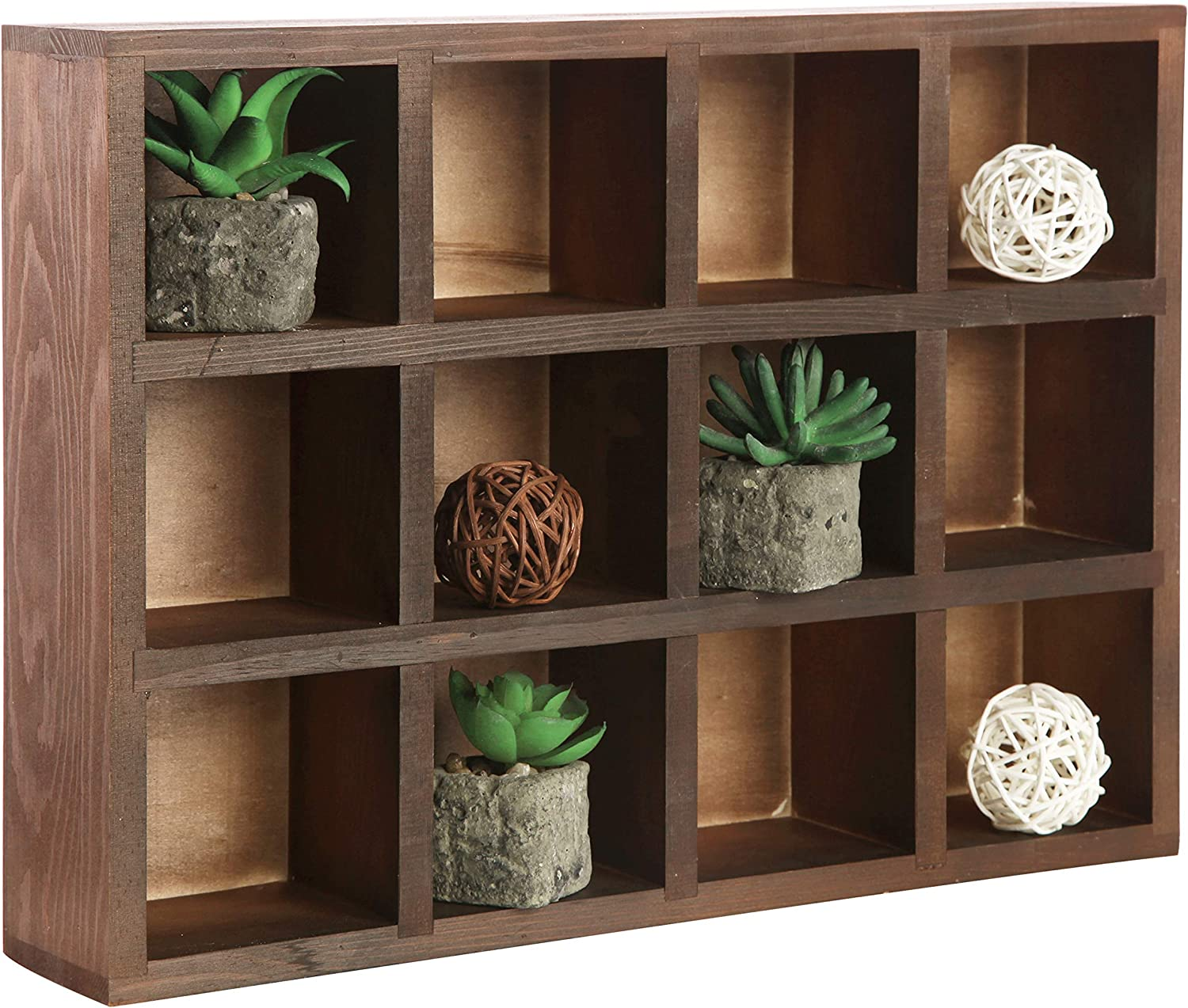 MyGift 12 Compartment Brown Wood Super beauty product restock quality top! or Wall Freestanding Mounted Sh Dedication