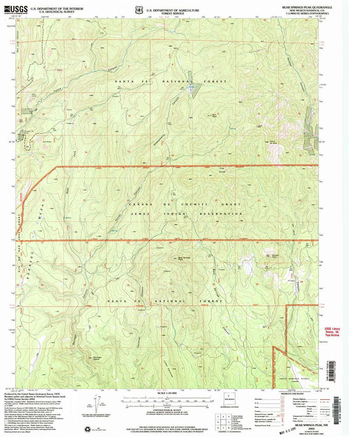 Bear Springs Peak NM topo map, 1 24000 Scale, 7.5 X 7.5 Minute, Historical, 2002, Updated 2003, 27 x 22 in