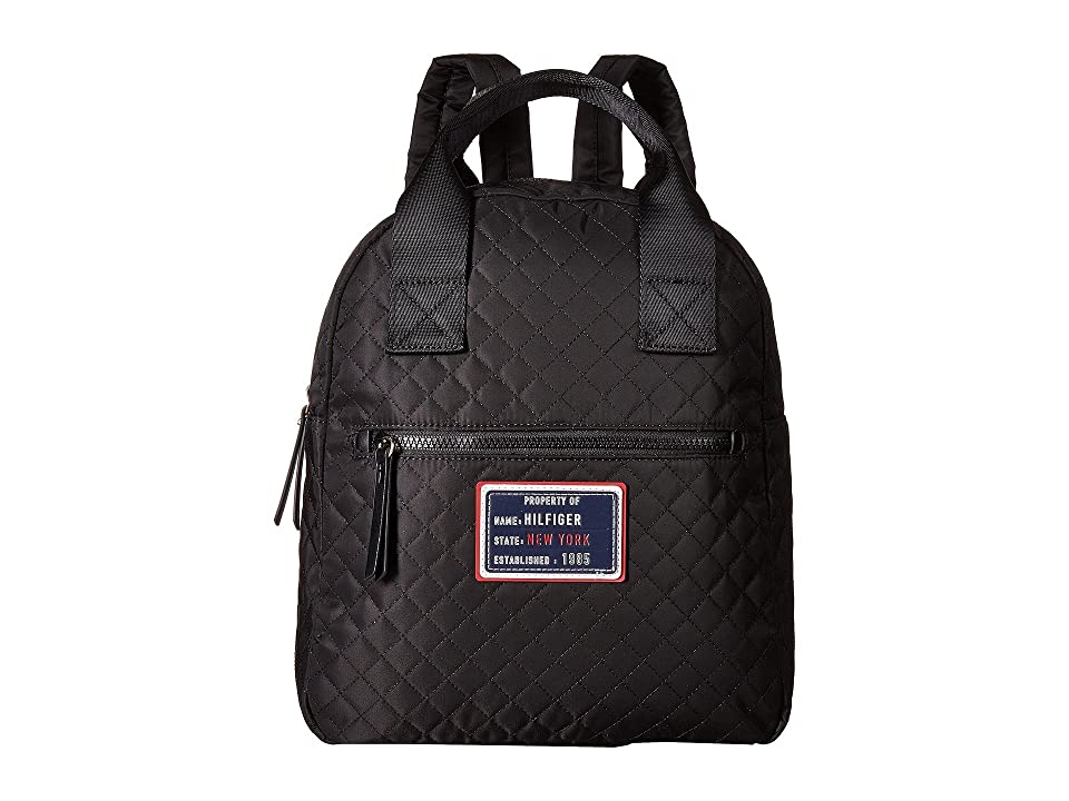 Tommy Hilfiger Nylon Patch Quilt Large Backpack (Black) Backpack Bags