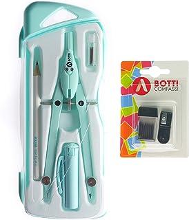 BOTTI Kit Pastel Pcs 6 compasso in metallo professionale, matita, temperino con raccoglitore, extra mine con temperamine p...