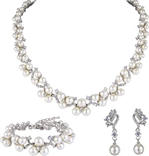 Austrian Crystal CZ Simulated Pearl Victorian Style Necklace Earrings Bracelet Set Clear