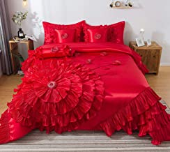 Tache Home Fashion VEHY4174-Q Ruffle Comforter Bedding Set, Queen, Red