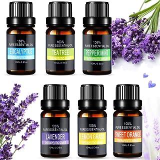 Ätherische Öle Set, Aiemok 6 x 10ml Aromatherapie Duftöl Set, 100% Bio Naturrein Aroma-Öl für, 6 Different Aromas - Lavendel, Pfefferminze, Zitronengras, Süßorange, Eukalyptus, Teebaums 6 Packungen