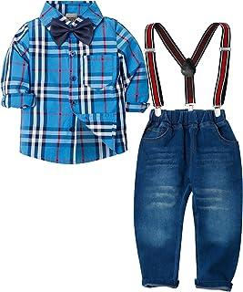 98219b7678cc0 ZOEREA 4 Pièces Vêtements Ensemble de Bébé Garçon Manches Longue Carreaux  Chemise + Bleu Jeans +