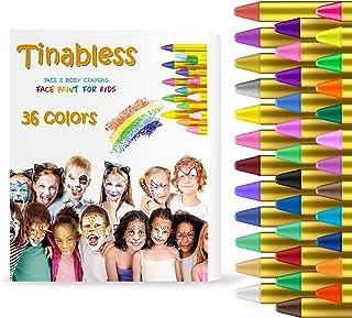 HENMI Pinturas Cara para Niños Seguridad no tóxica Pintura Facial, 36 Colores Crayons de Pintura Ajuste Halloween, Fiesta...