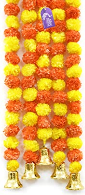 Asian Hobby Crafts Artificial Marigold Flowers And Bell Hanging (Orange/ Yellow, 5 Pieces)