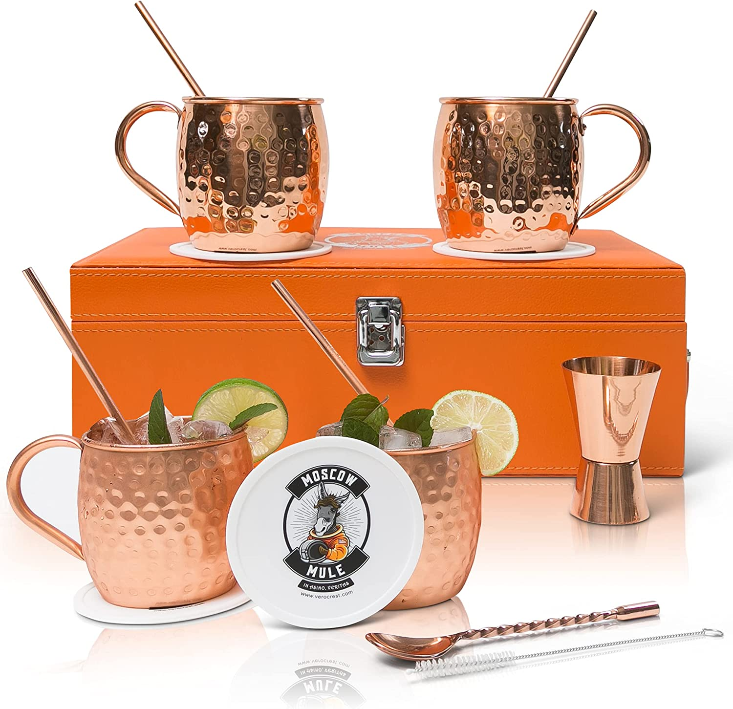Bombing new work Vero Crest Max 62% OFF Copper Moscow Mule Cups Handcrafted of Set 4 -