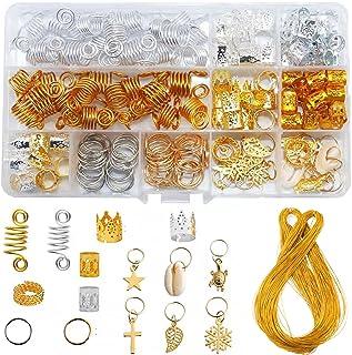 GCOA 160 sztuk biżuteria do włosów pierścienie aluminiowe akcesoria do włosów pierścienie do włosów i mankiety dekoracje s...