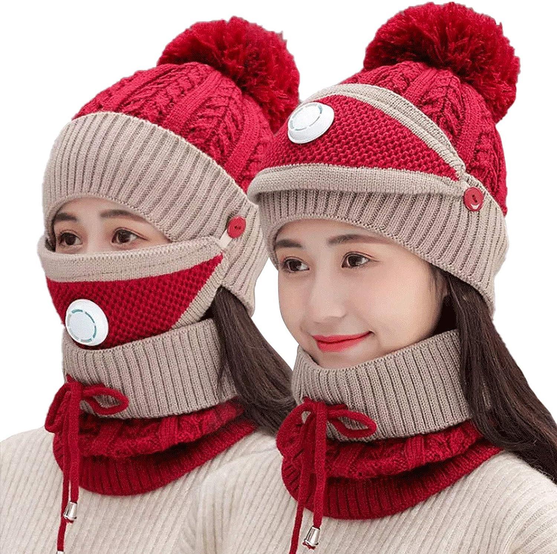 TMEOG Gorro de Punto con Forro Polar para Mujer Bufanda de Invierno Conjunto de Cara para Niñas Gorro Cálido Orejeras Gorro con Cubierta de Pompón al Aire Libre