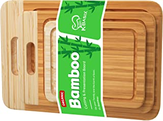 K BASIX Bamboo Cutting Board Set, Juice Groove 3 Pcs Premium Quality Organic Wood Cutting Board for Kitchen, Chopping Boar...