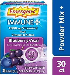 Emergen-C Immune+ Vitamin C 1000mg Powder, Plus Vitamin D And Zinc (30 Count, Blueberry Acai Flavor, 1 Month Supply), Immune Support Dietary Supplement Fizzy Drink Mix, Antioxidants & Electrolytes