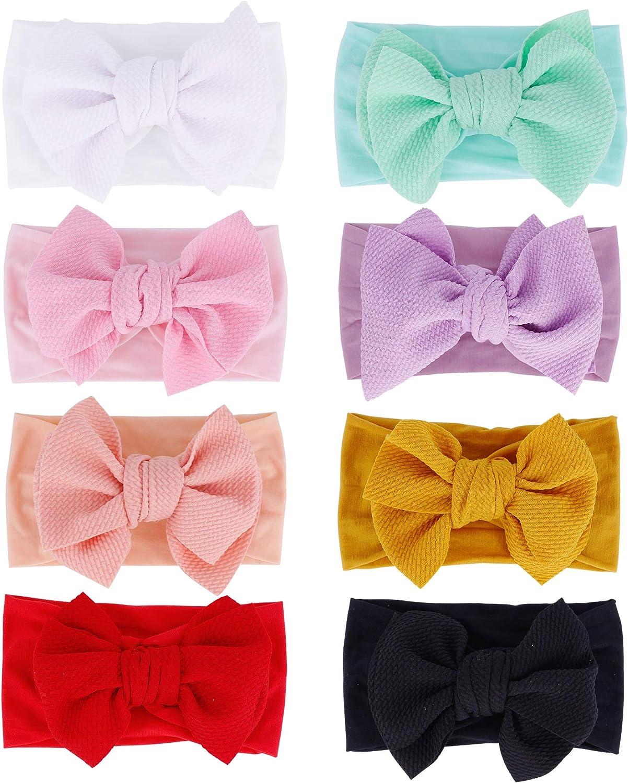 inSowni 8 Pack Big Bow Super Stretchy Hea Nylon New life Raleigh Mall Headbands Turban