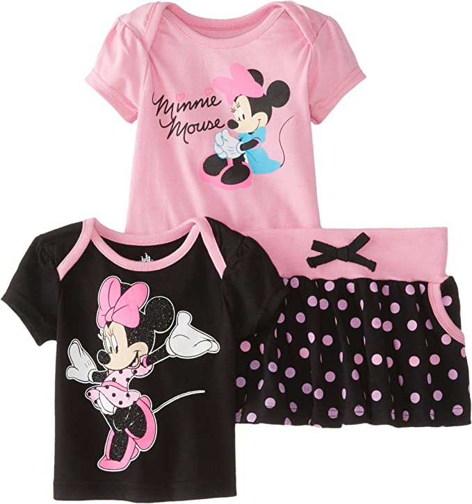 Details about  /NWT New Baby Girls Minnie Mouse Tiered Skort Skirt Gray 24 Months
