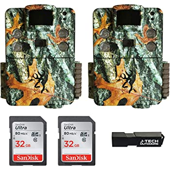 (2) Browning Strike Force HD PRO X (2019) Trail Game Cameras Bundle Includes 32GB Memory Cards and J-TECH Card Reader (20MP)   BTC5HDPX