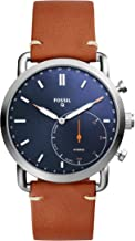 Fossil Men Commuter Stainless Steel and Leather Hybrid Smartwatch, Color: Silver-Tone,..