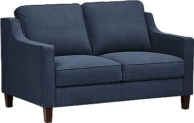 "Amazon Brand – Stone & Beam Blaine Modern Loveseat Sofa, 55.9""W, Navy Blue"