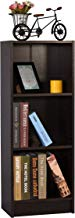 DeckUp Lexis Engineered Wood 3-Shelf Matte Finish Bookcase and Storage Unit (Dark Wenge)