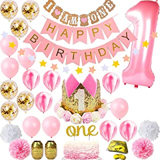 Pink and Gold Girls Theme Kit Set | First Bday Tiara Crown Hat, One' Cake Topper, Foil, Confetti, Marble Balloons, Banner,...