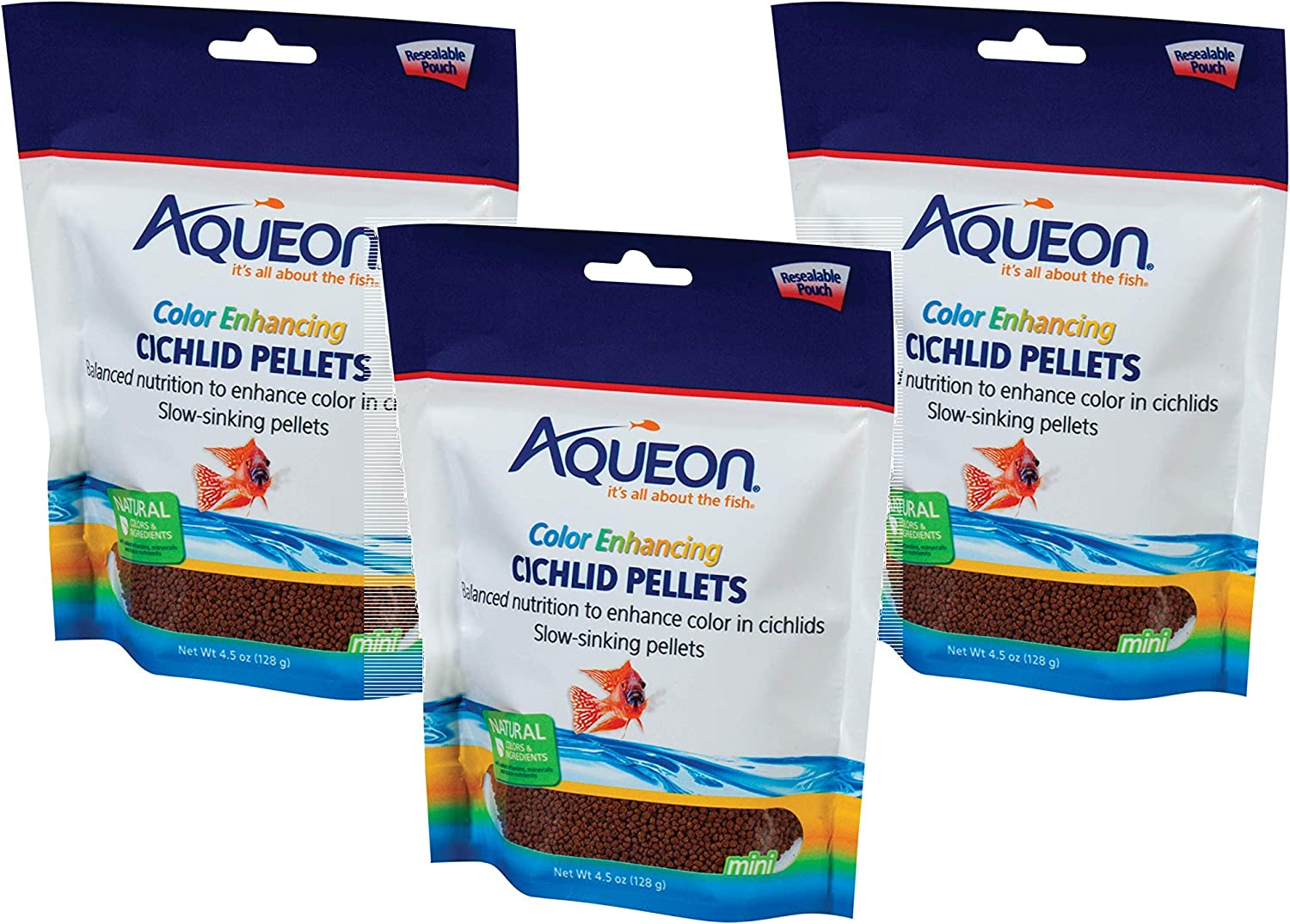 Aqueon Cichlid Color At the price Pellets Fish NEW before selling Food Ounce 4.5 Set 3 - of