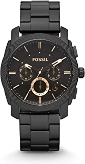 Fossil Machine Men's Black Dial Stainless Steel Analog Watch - FS4682