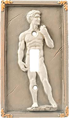 Bella Haus Design Michelangelo's David 3D Sculpted Light Switch Cover - Polyresin Single Toggle Wall Switch Plate Cover- Stat