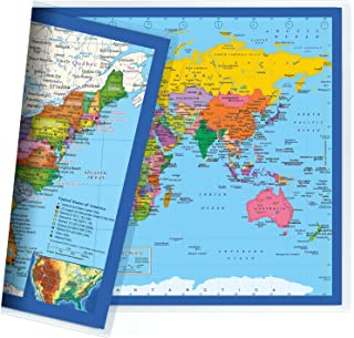 Classic United States USA and World Desk Map, 2-Sided Print, 2-Sided Sealed Lamination, Small Poster Size 11.5 x 17.5 inches (1 Desk Map (US Map/Europe CENTERED World Map))