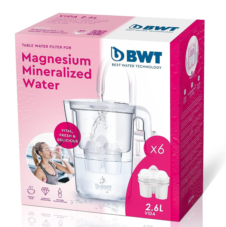BWT Vida Manual – Jarra filtradora de agua con magnesio + Pack 6 filtros jarra de agua, 2,6 L Blanco