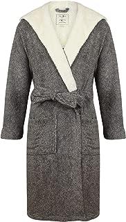 John Christian Men's Hooded Fleece Robe, Dark Gray Marl