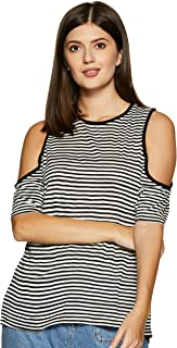 ABOF Women's Striped Regular Fit Top