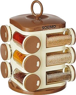 Amazon Brand - Solimo Revolving Spice Rack Set (12 pieces, Light Brown)