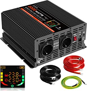 novopal 2000W KFZ Reiner Sinuswellen Wechselrichter 24V DC auf 230V AC Umwandler 2 AC EU Steckdose Wechselrichter mit 2 USB Ports, LCD Display und Spitzenleistung 4000 Watt